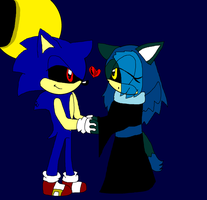 .:Contest Entry:.Vampire Sonic and Valintina by amyainrose
