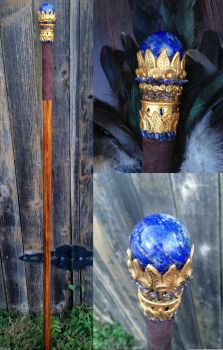 Egyptian Lapis Staff by KaijuClayCreations