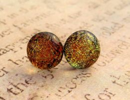 Copper Gold Fused Glass Button Earrings by FusedElegance