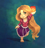 Chibi Rapunzel painted by majdarts