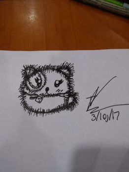 I drew this cute panda yesterday in class by CutemayStrikesAgain