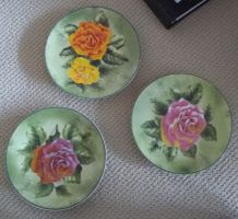 Found Hand Painted Plates by NapleGray