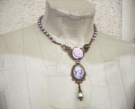 Lilac/Violet Cameo and Pearls Necklace by Aranwen