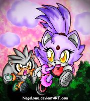 Silver and Blaze as kids by NegaLynx