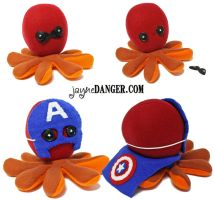 Custom Iron Man / Captain America octopus plushie by jaynedanger