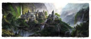 Lord of the Rings: Rivendell watercolor by graught