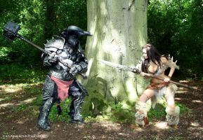 Minataur and Barbarian by Artyfakes