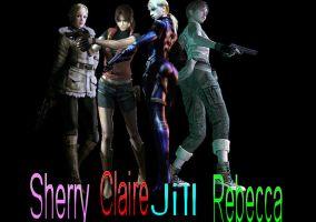 Sherry, Claire, Jill and Rebecca by RedifieldDragon