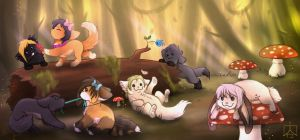 Meanwhile In A Forest... by Miosita