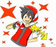 _.:Red and Pika_:. by Umbra-Flower