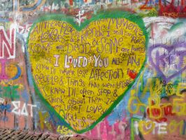 Heart of Peace_Prague :John Lennon's Wall by Akyra93