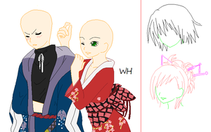 Kimono Couple .::Base::. by xxXWitch-HazelXxx