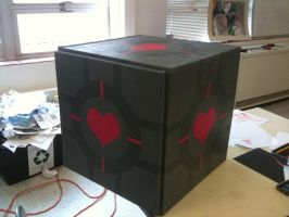 3D W. Companion Cube Painting by Kitten-sama