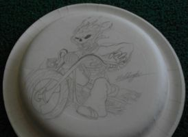 Ghost Rider on a  paper plate by Gabbyartisto3o