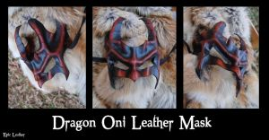 Leather Dragon Oni Mask by Epic-Leather