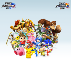 Super Smash Bros. Wii U/3DS Group WallpaperV4 by CrossoverGamer