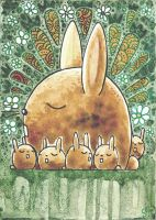 Hares ACEO ATC Serias Mother and Baby by Siriliya