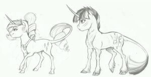 AU doodle- Rarity and Twilight by Earthsong9405