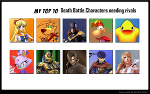 My Top 10 Death Battle Characters needed Rivals by SonicPal