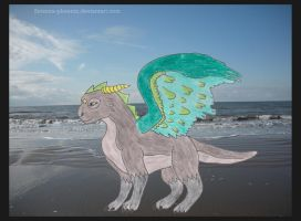 AT-Silver Dragon on the Beach by Setsuna-phoenix