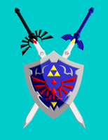 hylian shield and 2 swords by MagicMushroomTony
