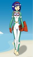 Scuba Erika: Beach Walk by Dr-Scaphandre