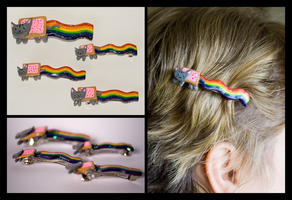 Nyan Cat Hair Clips by ChibiTaryn