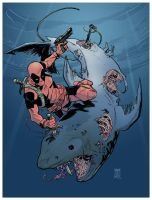 Deadpool VS Zombie Shark by deankotz