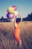 Running with balloons by Emmilli