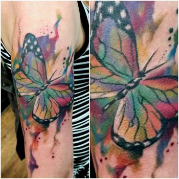 watercolour butterfly tattoo by thirteen7s