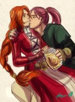 Titania + Shinon while drunk by Meibatsu