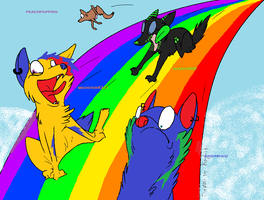 me and me buds on da rainbow by megster4321
