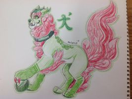 Colored Pencil Foo Dog by Night-Wolf122