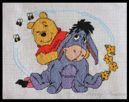 Winnie the Pooh and Eeyore by KezzaLN
