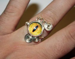Adjustable Wire Wrap Yellow Dragon Eye Ring by Create-A-Pendant