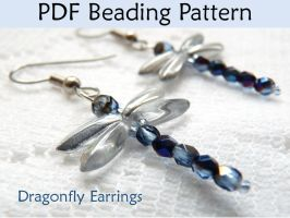 Dragonfly Earrings PDF Beading Pattern by SimpleBeadPatterns