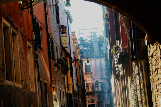 Venice Alley with Sunray by Schreibsessel