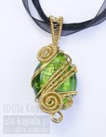 Gold green pendant by ukapala