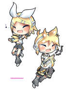 Vocaloid chibi series- Rin and Len Kagami by Artplex12