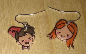 Kawaii Amy and Doctor earrings by Lovelyruthie