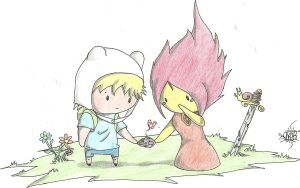 Finn The Human And Flame Princes by sakerss