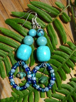 Turquoise and Blue bead dangle earrings by mercymoon