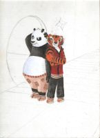 Painting of Po and Tigress- Work in Progress by Artlesa