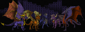 Spyro Dark Companion Line Up by InspiredDragons
