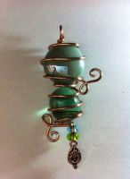 pale ble, green, and copper pendant by xXHallowHeartXx