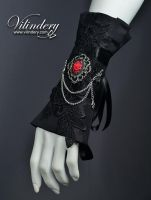 Gothic cuff with red rose by vilindery