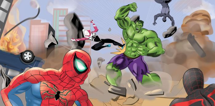 Spider-Man and Spider-Woman team versus The Hulk! by ProjectCornDog