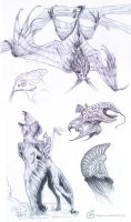 Strange creatures Sketchdump by Spighy