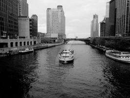 Chugging Along Michigan Ave. - Chicago River Boat by zackthemac