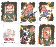SGT FURY sketchcards 11-15 by thecheckeredman